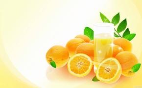 апельсины, стакан, сок