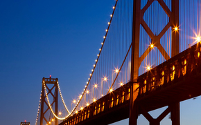 golden, gate, bridge, sea, blue, night