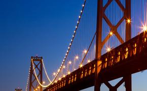 Or, Porte, pont, mer, bleu, nuit