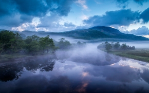 Afon Glaslyn, País de Gales, Inglaterra, Rio Glaslin, País de Gales, Inglaterra, rio, Montanhas, Hills, nevoeiro, manhã