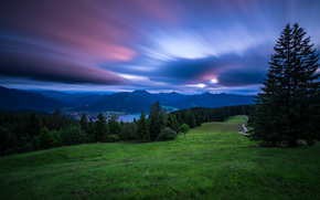 Lake Tegernsee, Tegernsee, Bavaria, Germany, Bavarian Alps, озеро Тегернзе, Тегернзе, Бавария, Германия, Баварские Альпы, Альпы, горы, озеро, закат