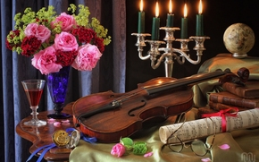 violin, Roses, Flowers, bouquet, music, glasses, Candles, candlestick, Books, globe, still life