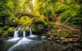 Schiessentmpel, Black Ernz river, Mullerthal, Luxembourg, река Чёрный Эрнц, Мюллерталь, Люксембург, водопад, река, мост, лес, лестница
