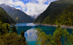 Long Lake, Jiuzhaigou, Sichuan, China, Minshan, Длинное озеро, Цзючжайгоу, Сычуань, Китай, заповедник, озеро, горы