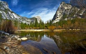 Mirror Lake, Yosemite National Park, California, Sierra Nevada, Национальный парк Йосемити, Йосемити, Калифорния, Сьерра-Невада, озеро, горы, лес, деревья, отражение