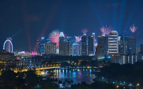 Kallang, Singapore, Калланг, Сингапур, ночной город, фейерверк, здания, небоскрёбы
