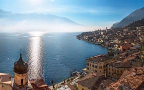 Limone sul Garda, Lombardie, Italie, LAC DE GARDE, Lago di Garda, Limone Sul Garda, Lombardie, Italie, Lac de Garde, panorama, lac, bâtiment, maison, Montagnes
