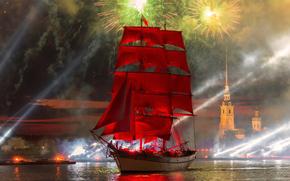 Russia, city, petersburg, Leningrad, Petrogad, Peter, Scarlet Sails, 2015, salute, sunset, river, Neva