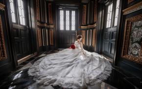 wedding, bride, Wedding Dress, dress, bouquet, floor