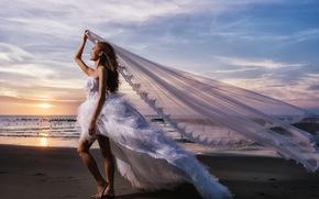 wedding, bride, Wedding Dress, dress, veil, mood, sea, sunset