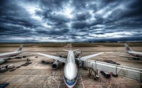 plane, aviation, sky, CLOUDS, stormy sky, airport