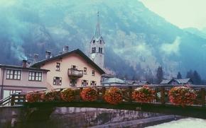 Gressoney-Saint-Jean, Vale de Aosta, Itália, Gressoney-Saint-Jean, Valle d'Aosta, Itália, ponte, Flores, construção