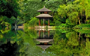 China, Китай, парк, озеро, пруд, беседка, отражение