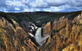 Grand Canyon, Waterfall, Yellowstone National Park, waterfall, Rocks, forest, trees, landscape