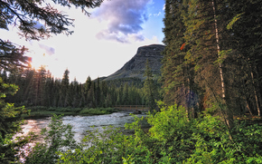 Glacier National Park, river, Mountains, bridge, forest, trees, sunset, landscape