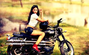 fată, cască, pantaloni scurți, ghete, motocicletă, bicicletă, Triumf