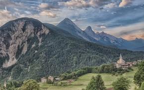 Alpi, Munți, domeniu, copaci, acasă, peisaj
