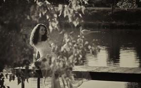 chica, humor, lago, puente, Mono, en blanco y negro