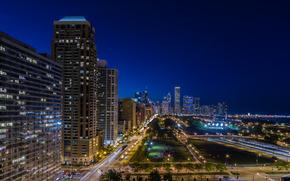 Plaza de puerto, Chicago, Illinois, Chicago, Illinois, la vida nocturna de la ciudad, calle, carretera, edificio, luces