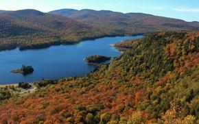 Mont-Tremblant Parcul National, Monroe Lake, Ontario, Canada, National Park Mont Tremblant, Lac Monroe, Quebec, Canada, toamnă, lac, pădure, Hills, panoramă