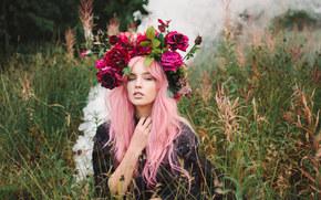 Lauren Hallworth, corona, Flores, hierba