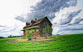 поле, небо, облака, старый заброшенный дом, пейзаж