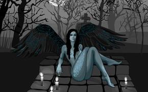 крылья, вектор, девушка, кладбище обои, фото