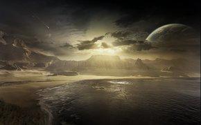 Космос: восход, луна, море, метеор