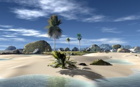 Пейзажи: рендеринг, тропические острова, пальмы, камни