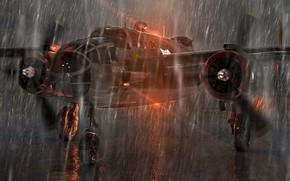 Авиация: самолет, дождь, отражение