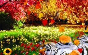 Рендеринг: тигр, природа, яркие краски, тепло, цветы, деревья, листья, трава