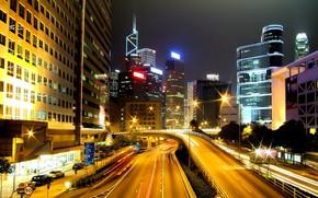 Город: город, ночь, лампы, движение