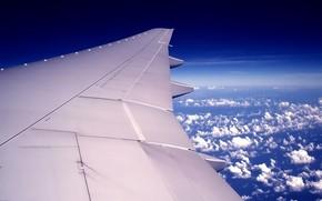 Авиация: самолет, крыло, облака