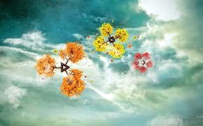 Фантастика: фантазии, цветы, небо, облака