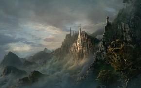 Фантастика: эльфорд, город, скалы, тьма