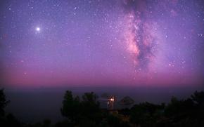 Космос: космос, небо, звезды, млечный путь, море, маяк, юпитер