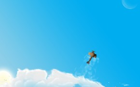 Авиация: самолет, облака, рисунок