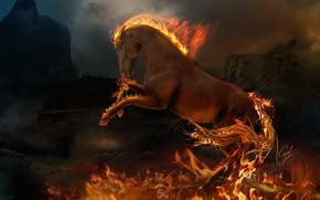 Фантастика: конь, животное, огонь, пламя
