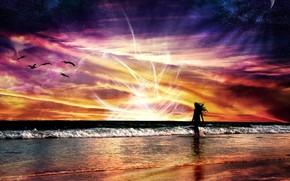 Стиль: абстракции, пейзаж, природа, космос, полет, море, волны, девушка, энергия, яркий, закат, красный