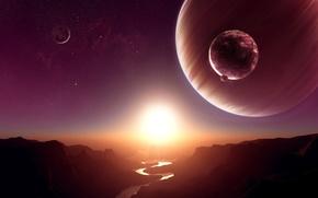 Космос: планеты, река, солнце