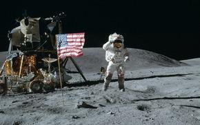Космос: космос, луна, космонавт, американец, прыжок, флаг, америка, сша, лунный модуль, луноход, обои