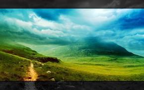 Пейзажи: ландшафт, пейзаж, стиль, горы, облака, природа, трава, зелень