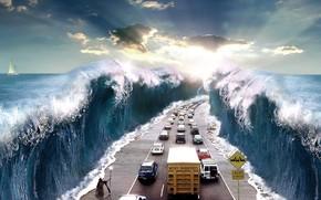 Ситуации: магия, волшебство, иисус, обыденность, сюрреализм, абстракция, море, расступилось, добро, работа, знак, опасность, стихия, слонце, лучи, дорога, транспорт, машины, путь