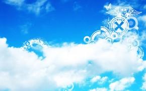 Стиль: облака, небо, голубое, белое, полоски, полосы, плоские фигуры, узоры, бабочка