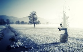 Ситуации: в сугробе, в снегу, половина, ноги, туловище, снег, зима, река, лед, стиль, туман, корзина, мусор, чистота, природа, пейзаж