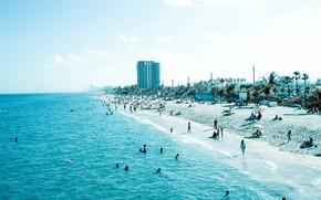 Город: синий, голубой, пляж, люди, песок, море, берег, побережье, отдых