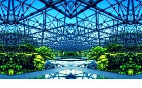 Рендеринг: конструкция, теплица, сталь, растительность, яркий