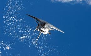 Космос: спейс, шаттл, космический челнок, космос, полёт, земля, океан, облака, обои