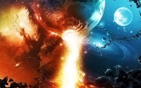 Космос: космос, фантастика, планеты, небо, созвездия, метеориты, камни, звезды, огонь, красиво