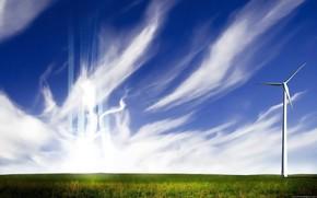 Пейзажи: поле, небо, энергия, ветер, перистые облака, стиль